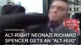 Alt-Right Neonazi Richard Spencer gets an 'alt-hug' during a street interview.