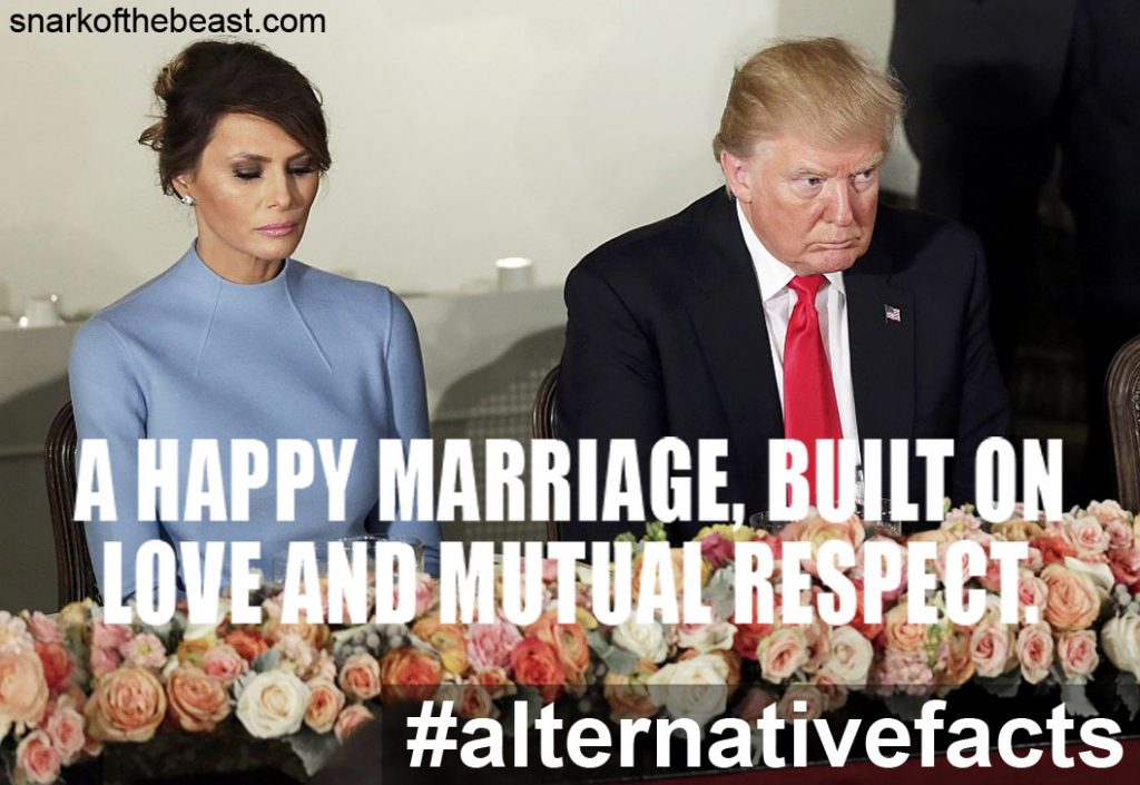 Happy Marriage Between Melania and Donald Trump, with their marriage built on love and mutual respect. Inauguration dinner, January, 2017