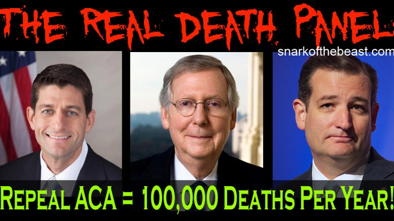 Republicans Repeal Obamacare ACA - Death Panel of Paul Ryan, Mitch McConnell, and Ted Cruz.